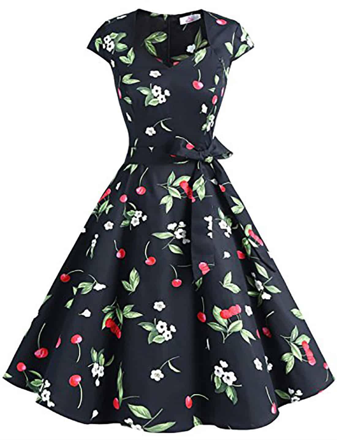 cherry print retro dress