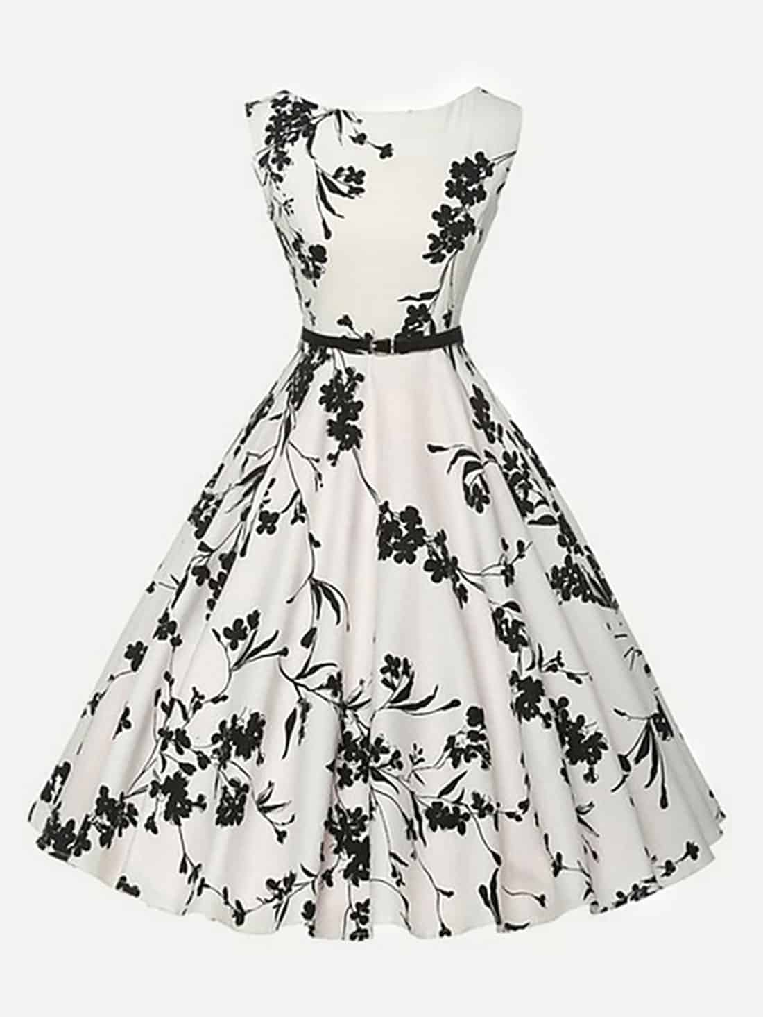 black white floral retro dress