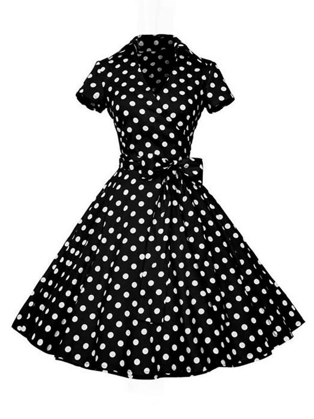 black polka dot retro dress