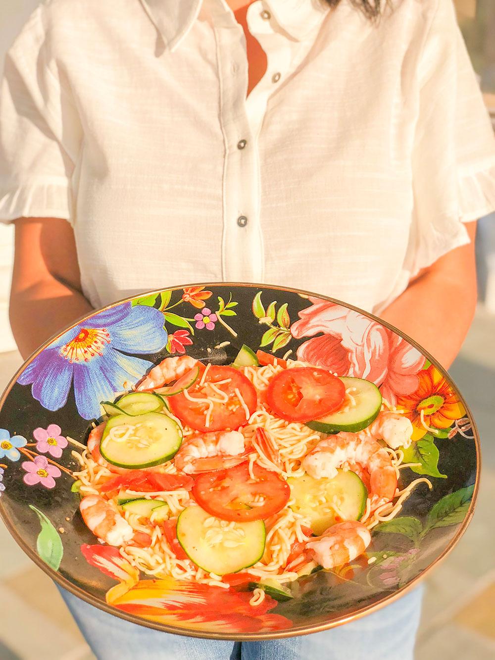 national best friend day sharing shrimp & veggie pasta recipe