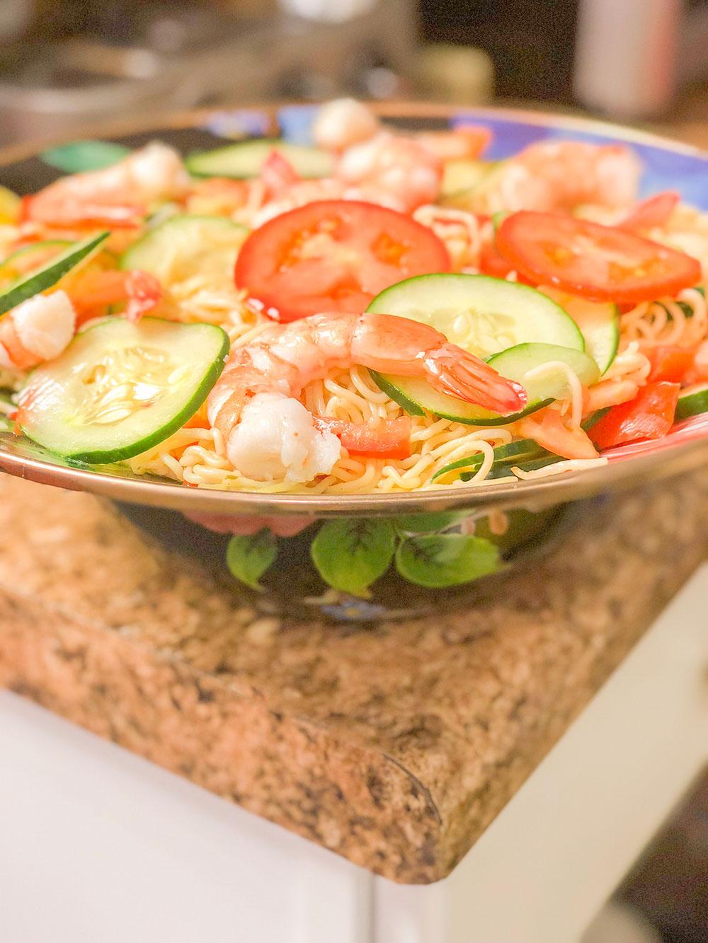 jumbo shrimp & veggie pasta recipe