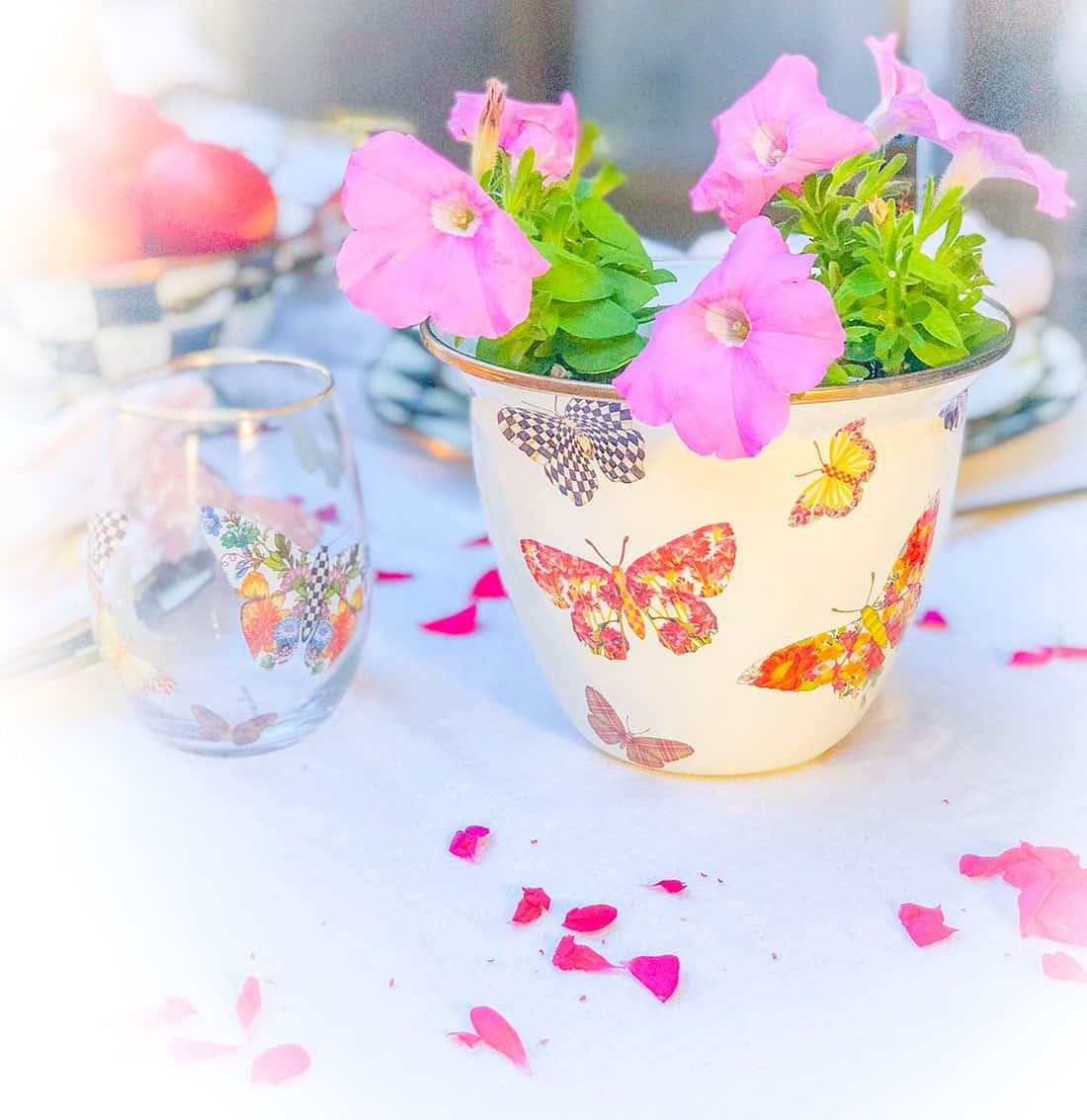 MacKenzie-Childs butterfly garden flower pot