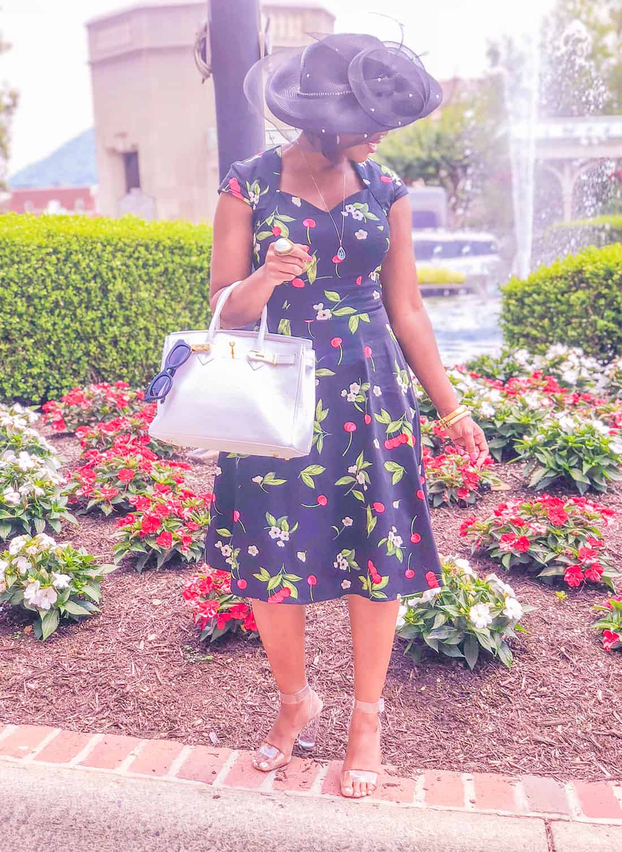 shaunda necole bridal shower cherry print retro dress
