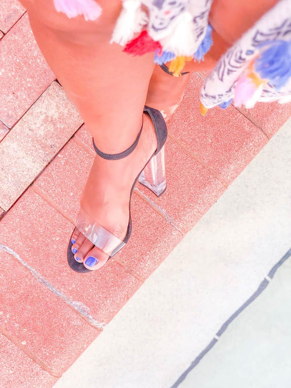 shaunda necole black and clear heels