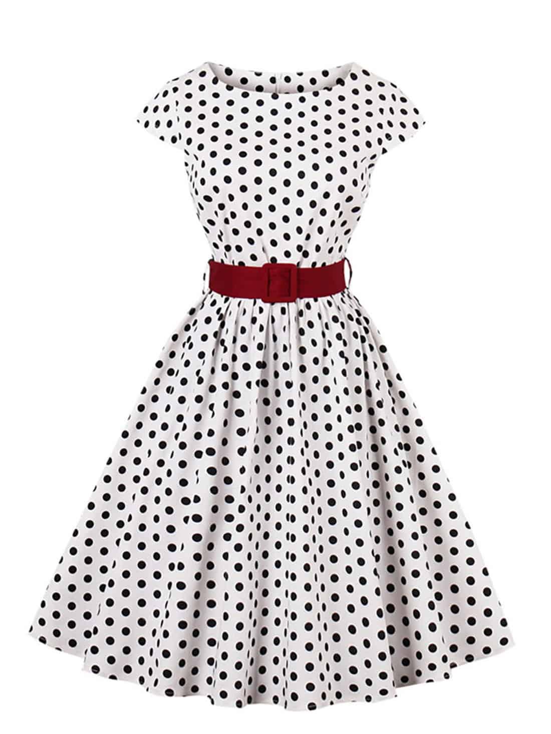 white black polka dot retro dress
