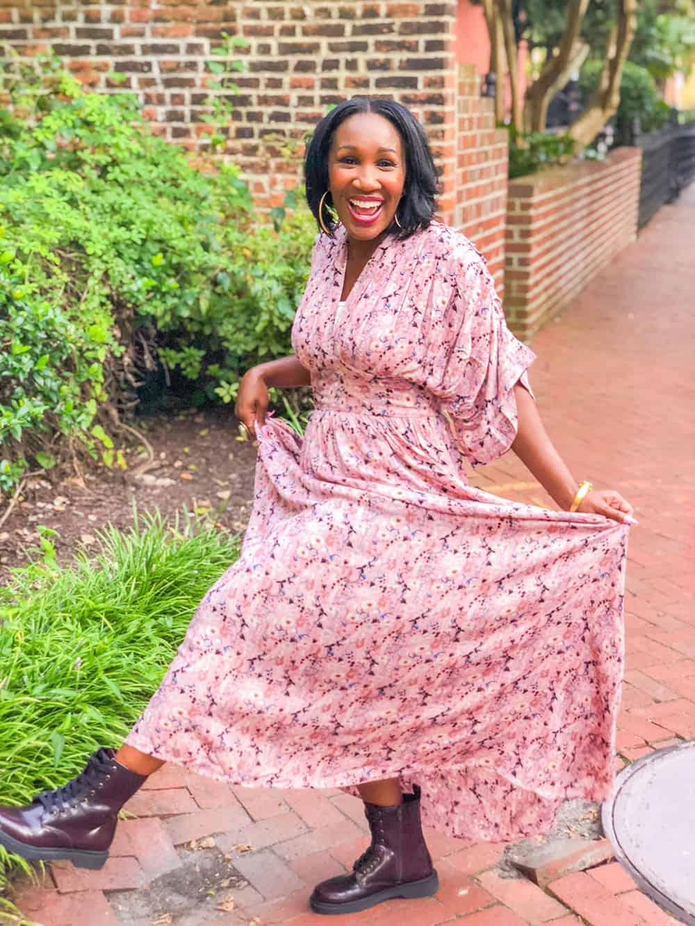 twirl in a floral dress