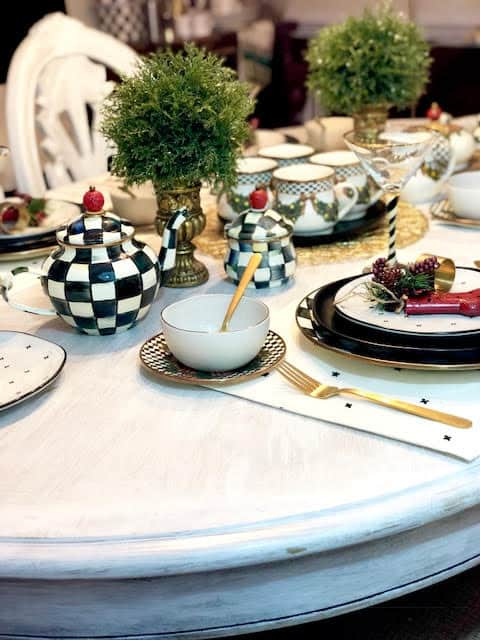 Vintage MacKenzie-Childs Retired Christmas Pattern Evergreen Collection Christmas Table Setting