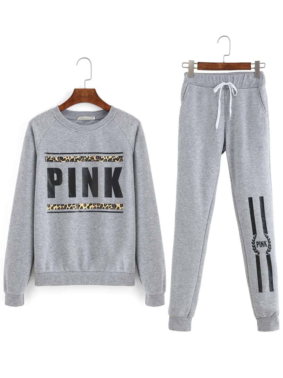 Romwe pink sweat suit