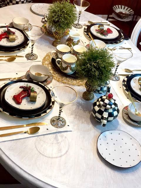 Vintage MacKenzie-Childs Retired Pieces Collection Christmas Table Setting