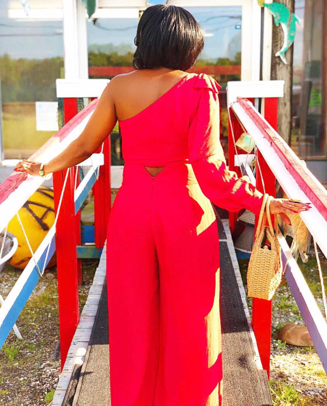 Shaunda Necole one-shoulder outfit