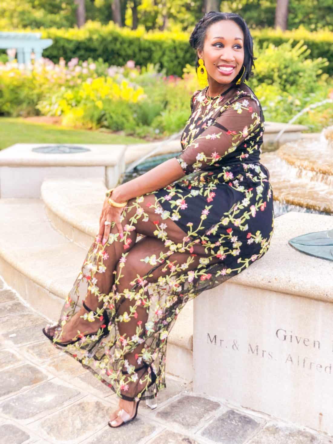 Shaunda Necole Shein sheer floral dress