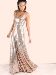 SheIn Backless Sequin Cami Maxi Dress ROSE GOLD
