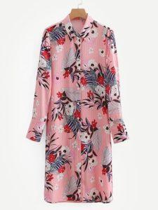 SheIn Botanical Print Shirt Dress
