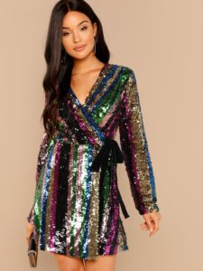 SheIn Color Block Sequin Wrap Dress
