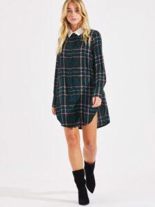 SheIn Contrast Collar Curved Hem Plaid Shirt Dress