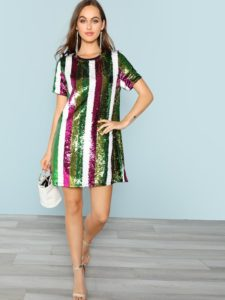 SheIn Cut and Sew Sequin Tunic Dress