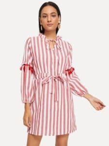 SheIn Drawstring Waist Tassel Detail Stripe Shirt Dress