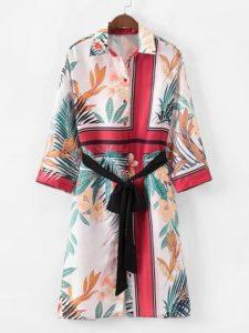 SheIn Foliage Print Self Tie Shirt Dress