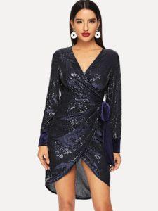 SheIn Surplice Wrap Sequin Dress