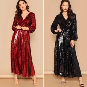 Holiday Sparkle- Lantern Sleeve Wrap Sequin Dress