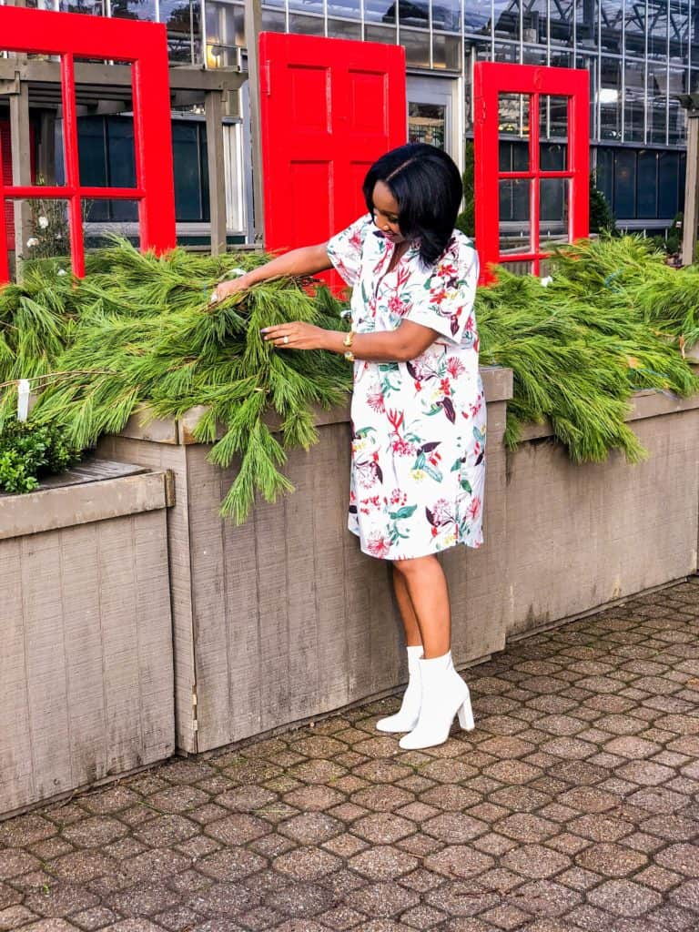 Shaunda Necole decorating with Chritsmas garland