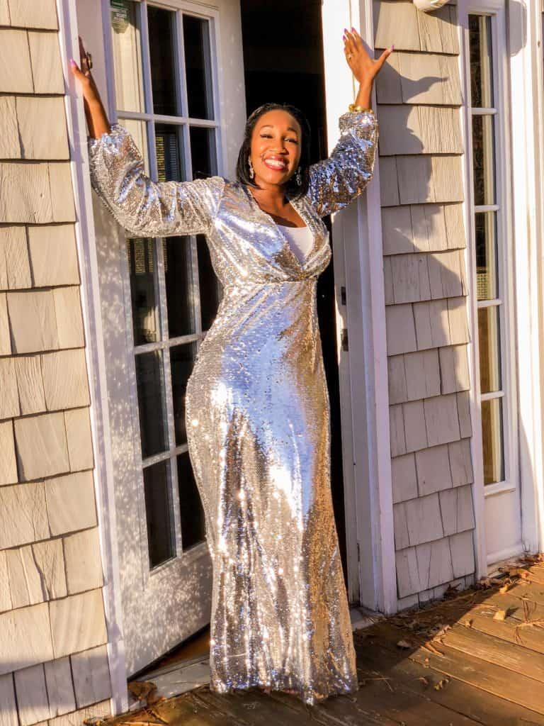 Shaunda Necole long silver sequin dress