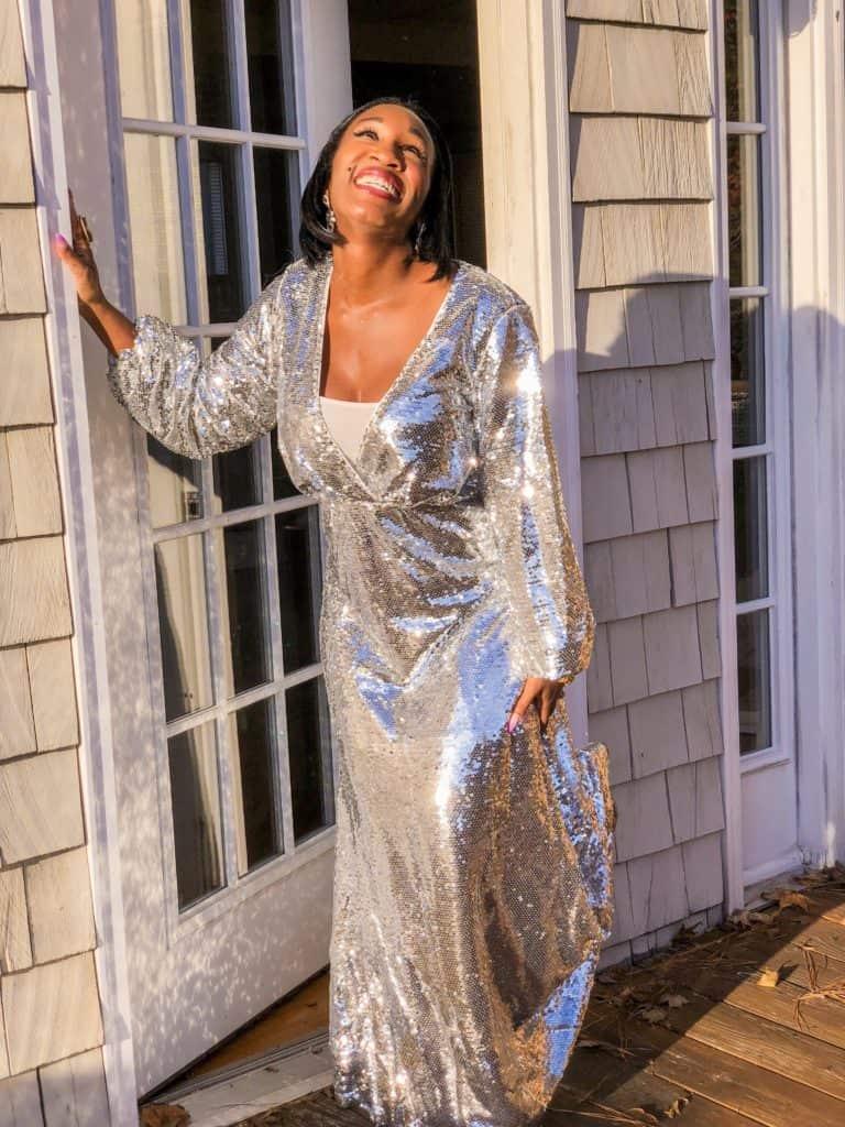 Shaunda Necole NYE silver sparkle dress