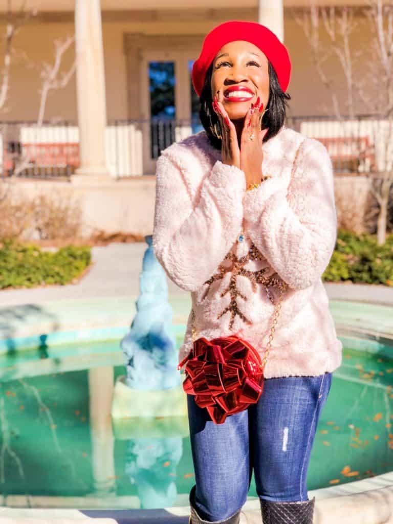 Shaunda Necole Mistletoe Ready with Givenchy Lipstick