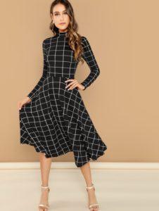 SheIn Mock Neck Print Fit & Flare Dress