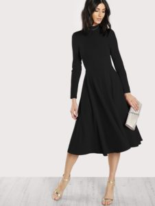 SheIn Mock Neck Classic Fit & Flare Dress