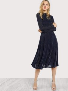 SheIn Mock Neck Glitter Fit & Flare Dress