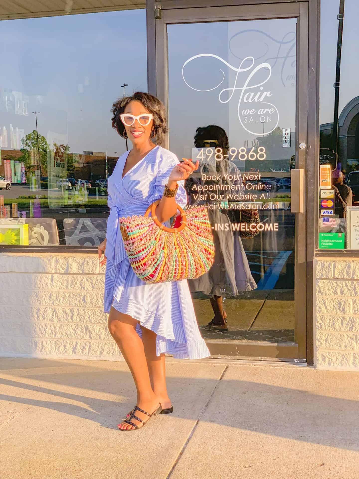 Shaunda Necole - In Virginia Beach at Hair We Are Salon, Stylist- Destiny Moody, SheIn dress, Patricia Nash handbag