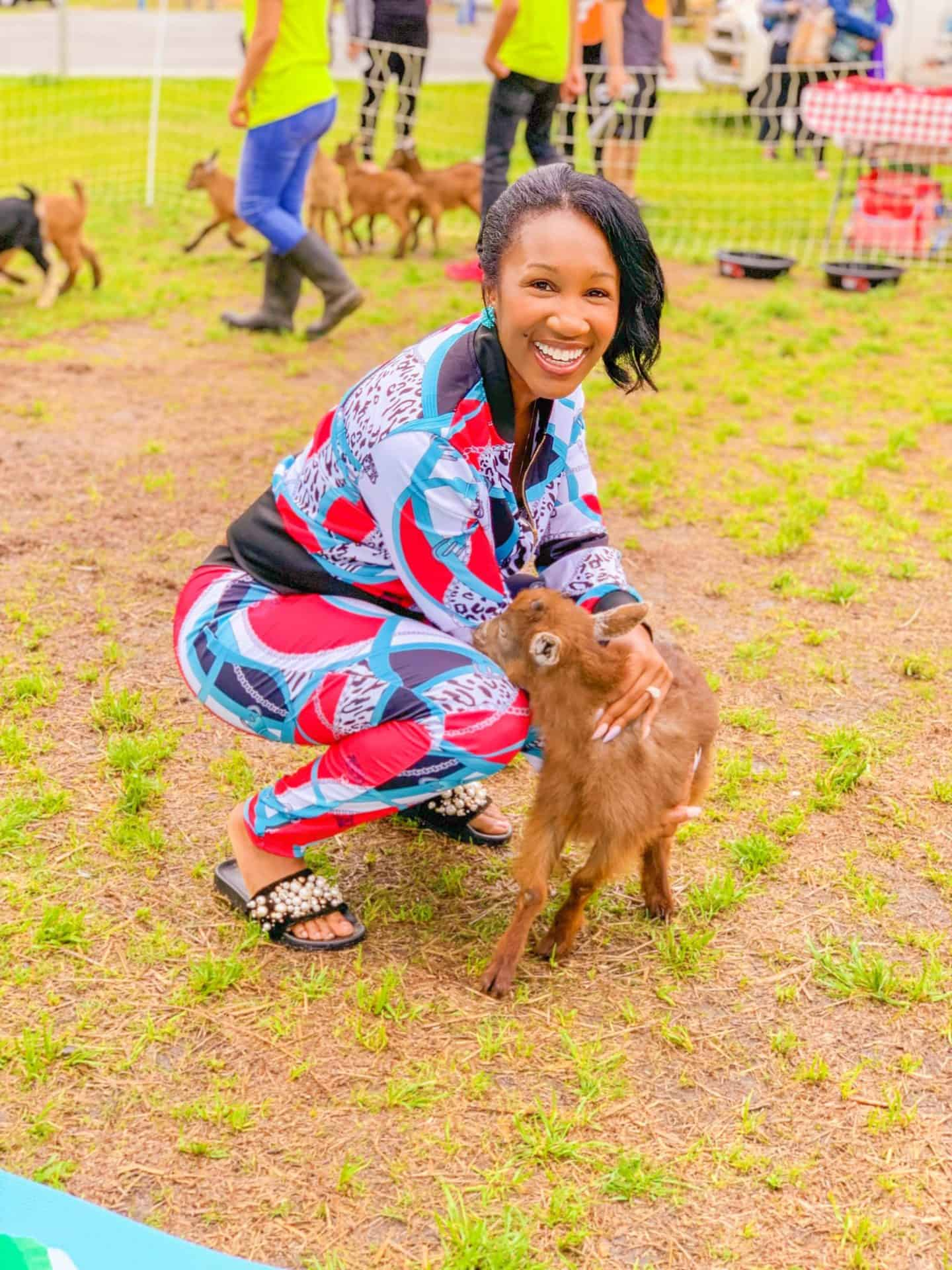 Goat yoga exercise after hysterectomy recovery