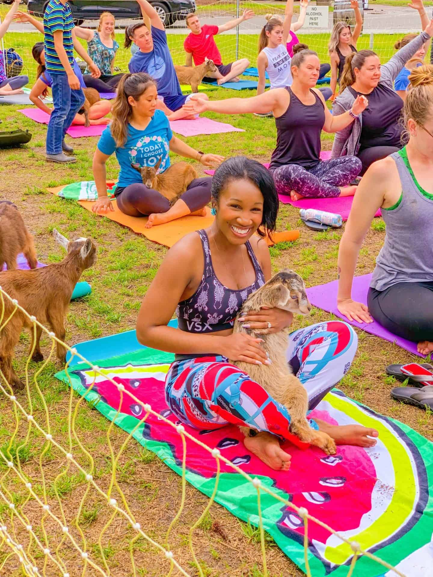 In goat yoga, the point isn't to sweat. It's to have a baby goat— no uterus required!