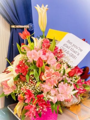 ShaundaNecole.com- Hospital floral arrangement after hysterectomy