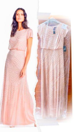 Shaunda Necole x Adrianna Papell- Short Sleeve Beaded Blouson Gown
