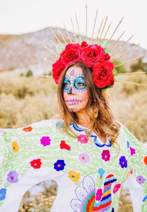 ShaundaNecole.com- Día de Muertos sugar skull, my fellow blogger friend, Yvette of @MuyBuenoCooking