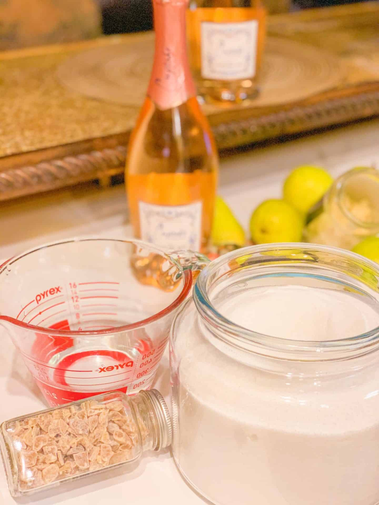 Easy Recipe- Sparkling Rosé, Pears and Ginger Simple Syrup