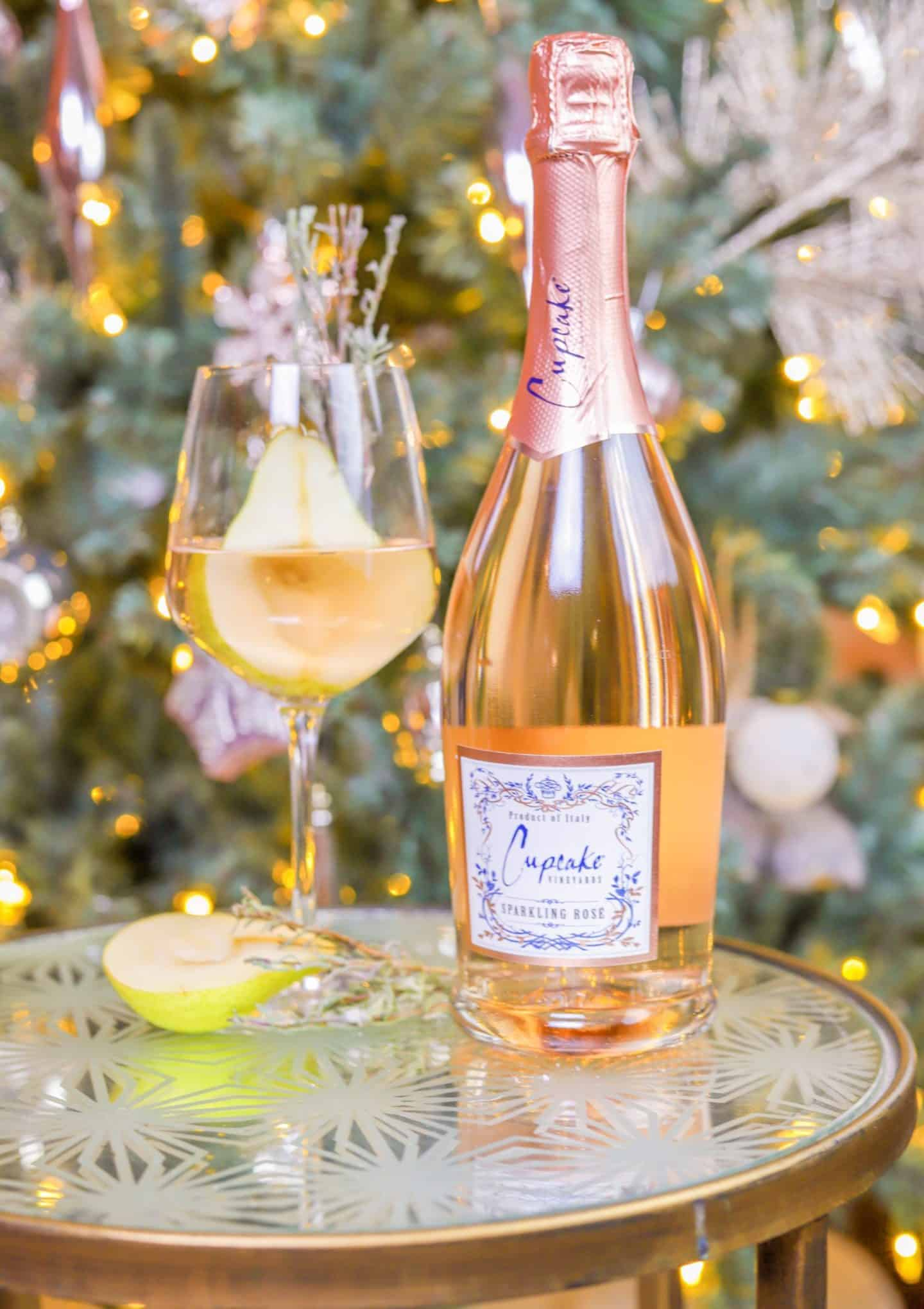 Easy Holiday Cocktail Recipes- Cupcake Sparkling Rosé Ginger & A Pear Tree Cocktail