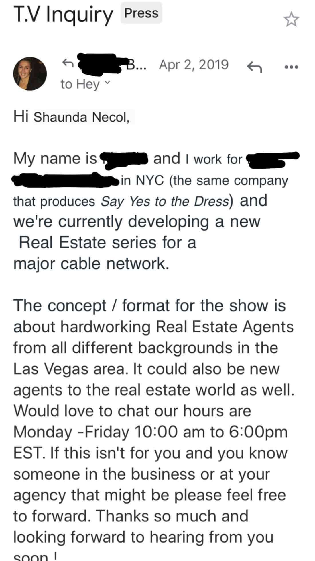 ow to Get Featured On TV Shows? Sample Email From a TV Producer