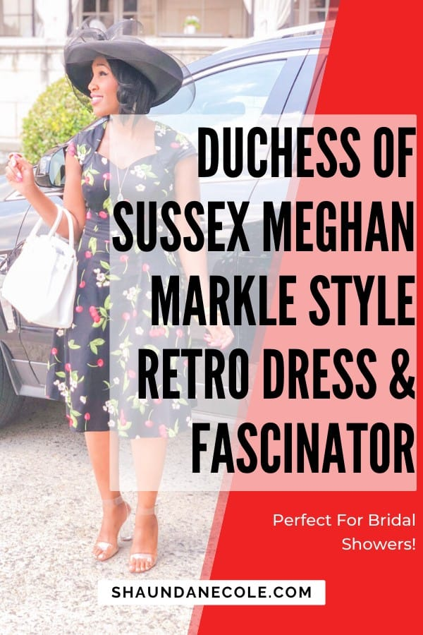 Duchess Of Sussex Meghan Markle Retro Dress & Fascinator Perfect For Bridal Showers