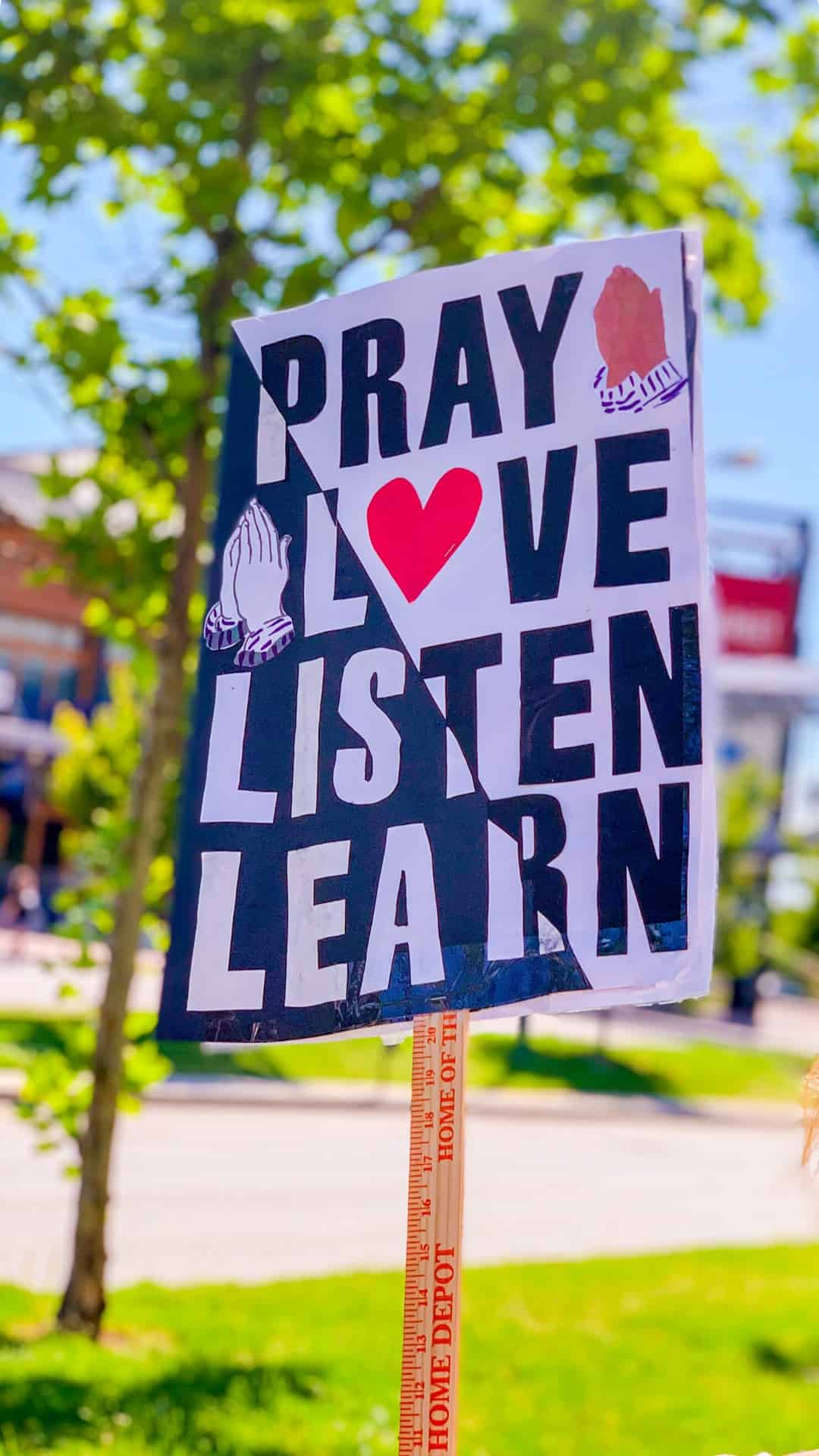 BLM Protest Signs Ideas- pray, love, listen, learn protest sign