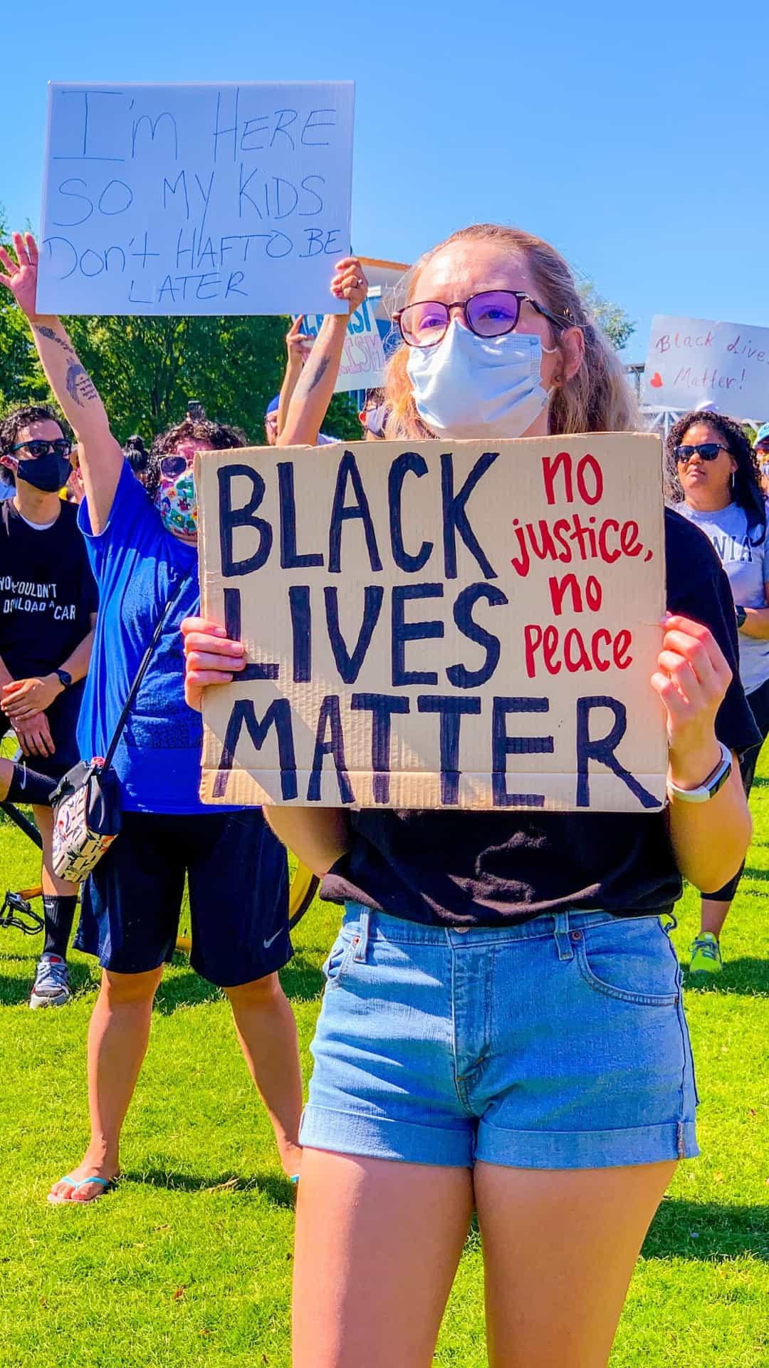 Protest sign no justice no peace - Black lives matter