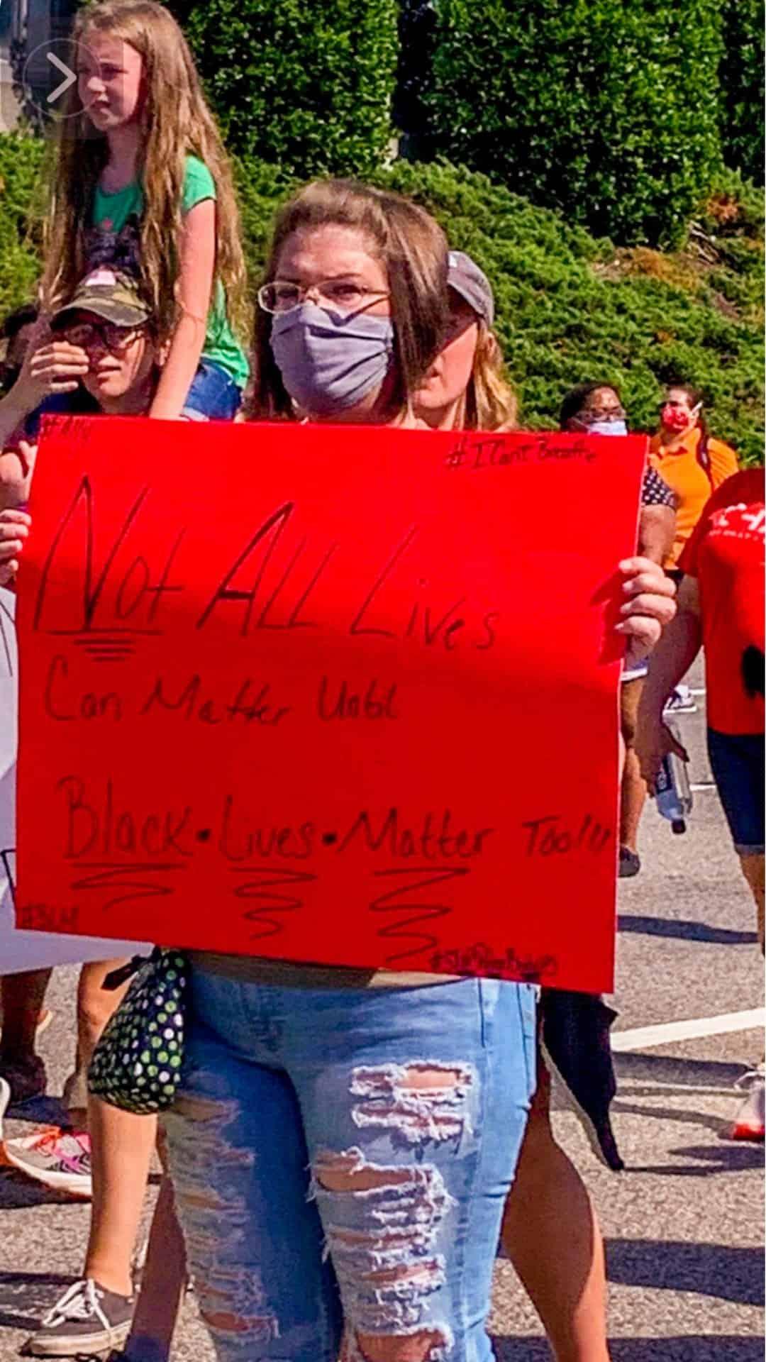not all lives can matter until Black lives matter protest sign