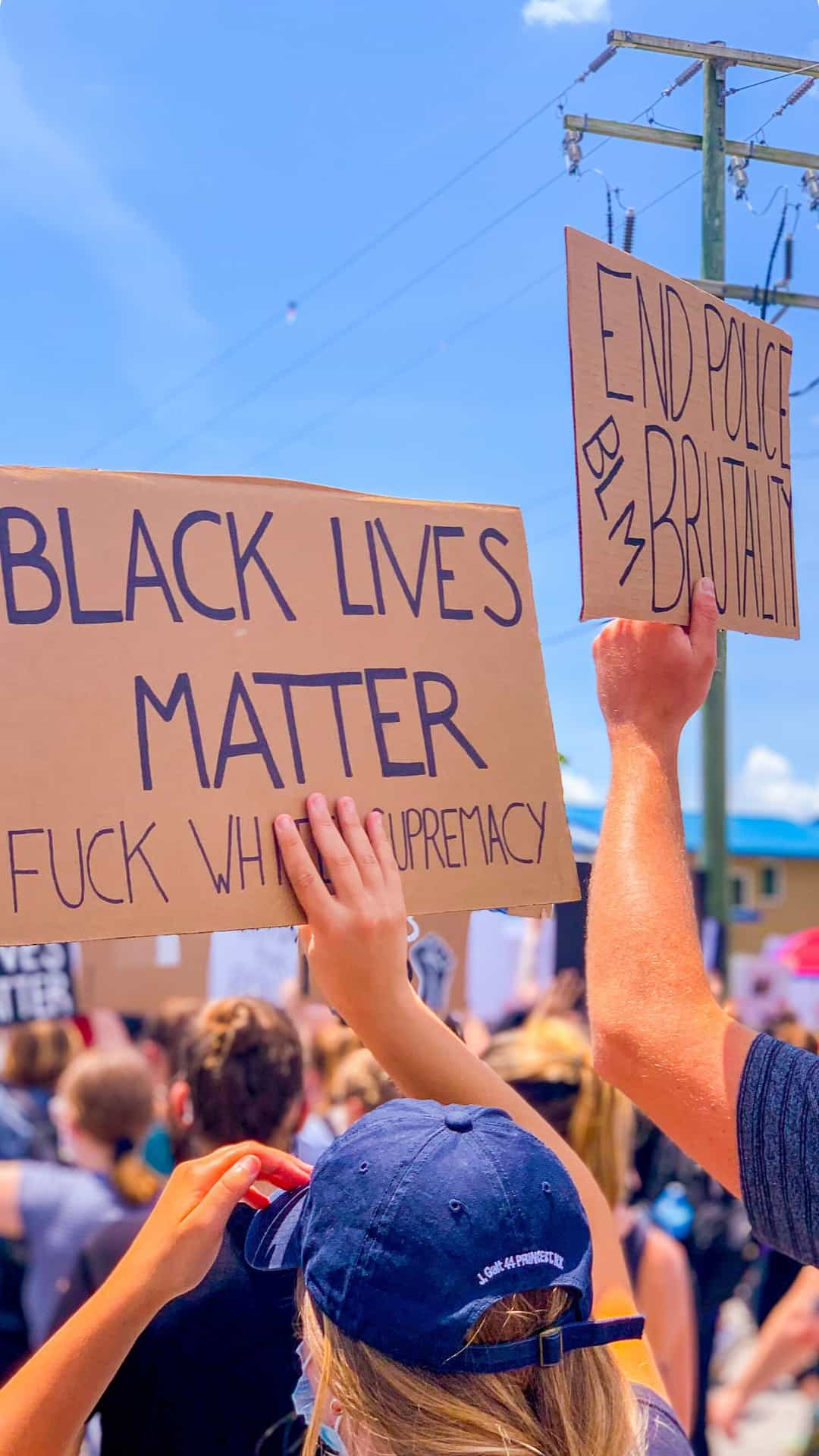 end police brutality BLM protest signs