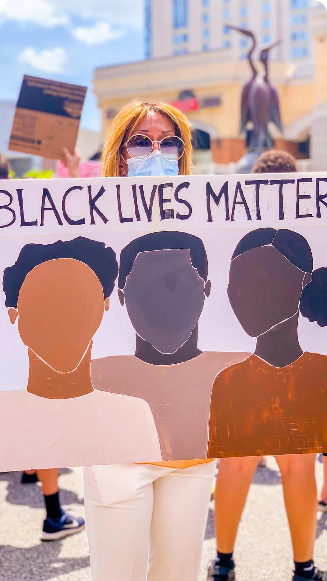 Black lives matter art protest sign
