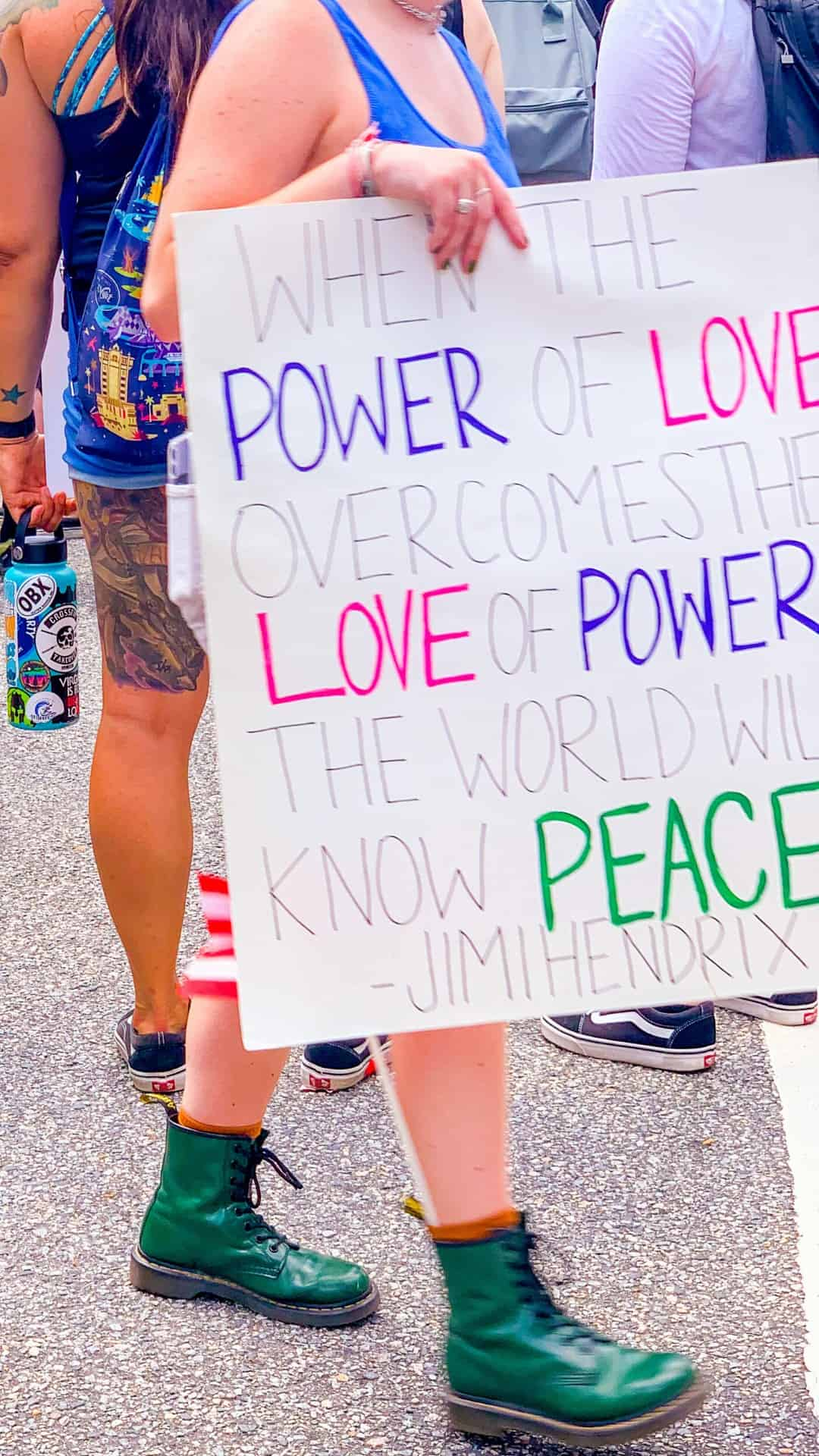 Power of love protest sign