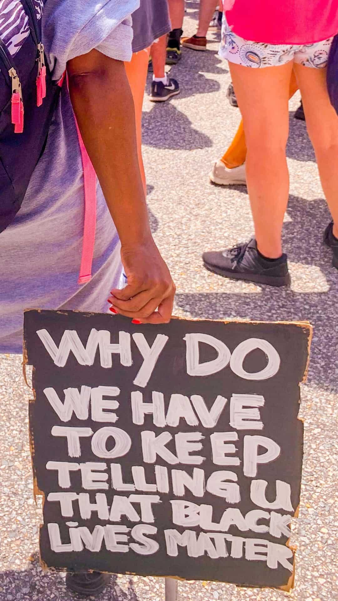 painted Black Lives Matter protest sign