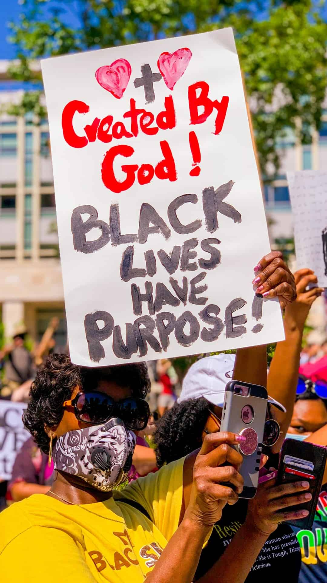 Black lives have a purpose protest sign