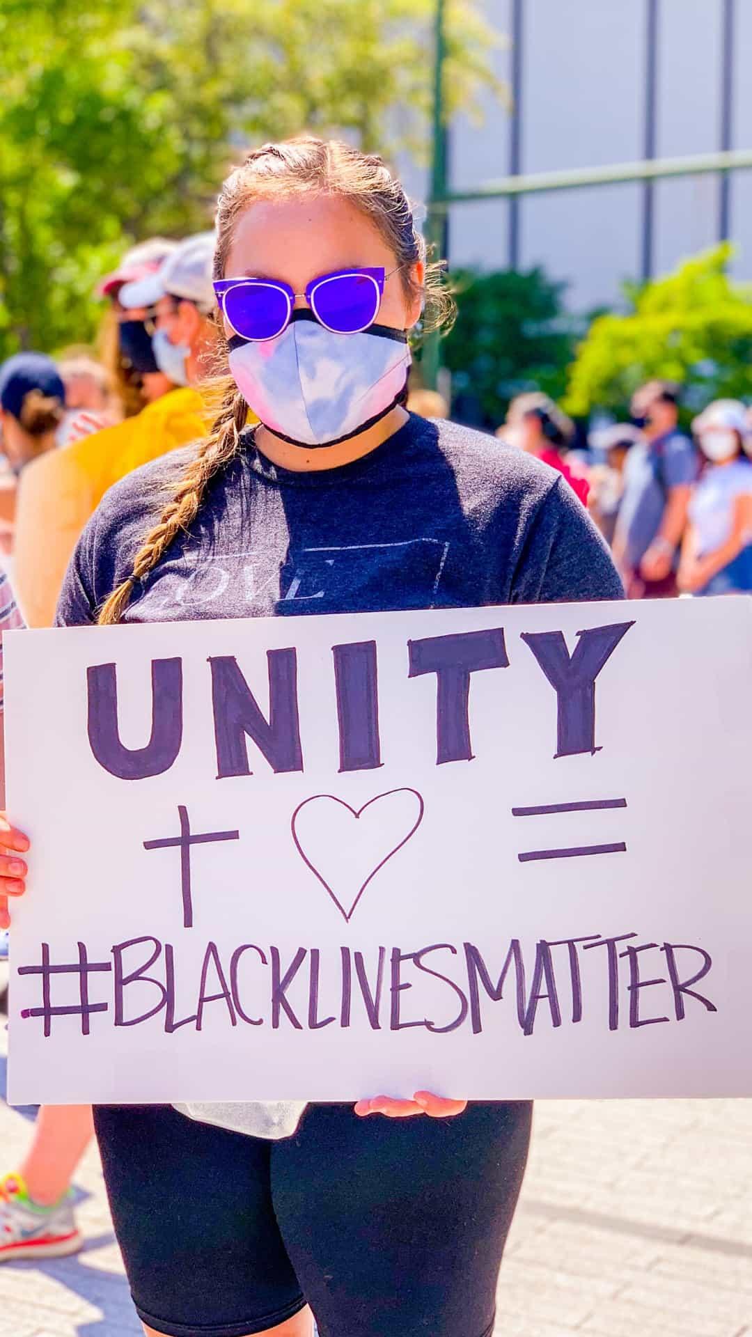 Unity + Black Lives Matter protest sign